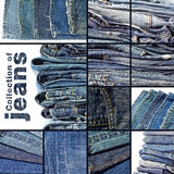 Collection of blue jeans. Background for design work Royalty Free Stock Photos