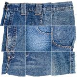 Collection of blue jeans fabric textures royalty free stock photos