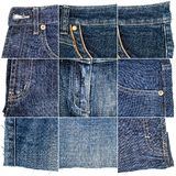 Collection of blue jeans fabric textures royalty free stock images