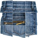 Collection of blue jeans fabric textures stock photo
