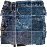 Collection of blue jeans fabric textures royalty free stock photography