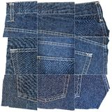 Collection of blue jeans fabric textures stock photography