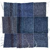 Collection of blue jeans fabric textures. Collection of blue jeans textures isolated on white background. Rough uneven edges. Wrong side of the fabric royalty free stock image