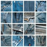 Blue jeans texture collage. Collection of blue jeans texture collage Royalty Free Stock Photography