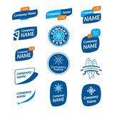 Logo frozen seafood. Collection of blue logos for companies producing and processing seafood Royalty Free Stock Photo