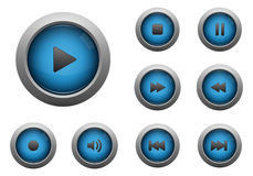 Collection of blue multimedia buttons. A collection of blue multimedia buttons isolated on white background Royalty Free Stock Photos