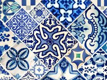 Collection of blue patterns tiles Stock Photos