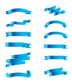 Collection Blue Ribbon Vector Stock Royalty Free Stock Photo
