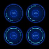Collection of blue round progress circles. Download sign. Load system. Vector illustration on dark background Royalty Free Stock Images