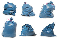 Collection of Blue Rubbish Bags on white Royalty Free Stock Photos