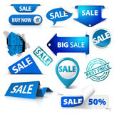 Collection of blue sale tickets, labels... Royalty Free Stock Photography