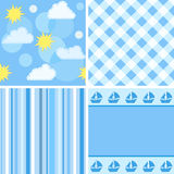Collection blue seamless. stock illustration