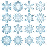 Collection of blue snow flakes Royalty Free Stock Images