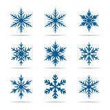 Collection of Blue Snowflakes. Royalty Free Stock Photo
