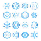 Collection of 16 blue snowflakes on white backgrou Stock Images