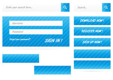 Collection of blue stripped web buttons and forms with shadow royalty free illustration