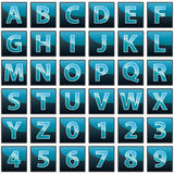 Collection of 36  blue vector icons on white background - alphabet and numerals. Computer generated collection of 36  blue vector icons on white background with Royalty Free Stock Photo