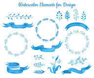 Collection of  blue watercolor ribbon banners and leaves. Set of elegant hand drawn elements for design. illustration. Royalty Free Stock Photo