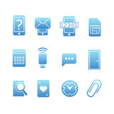 Collection of blue web icons Royalty Free Stock Images