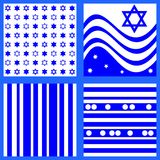 Collection of blue white patterns inspired by Israeli flag. Collection of blue white patterns with stars, waves, stripes and rounds Royalty Free Stock Images
