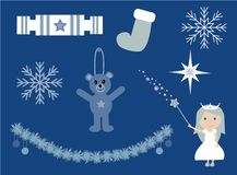 Collection of Blue & White Retro Xmas Elements Stock Photo