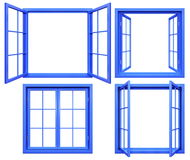 Collection of blue window frames isolated on white Royalty Free Stock Photography