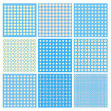 Collection of blue and yellow textures Royalty Free Stock Images