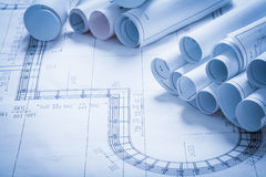 Collection of blueprint rolls construction concept Royalty Free Stock Photos