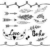 Collection of boho doodle design elements. Vector Royalty Free Stock Images