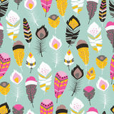 Seamless pattern with boho vintage tribal ethnic colorful vibrant feathers. Vector illustration Royalty Free Stock Photography