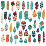 Collection of boho vintage tribal ethnic hand drawn colorful feathers Royalty Free Stock Photography