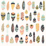 Collection of boho vintage tribal ethnic hand drawn colorful feathers Royalty Free Stock Images