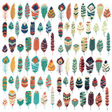Collection of boho vintage tribal ethnic hand drawn colorful feathers Stock Photos