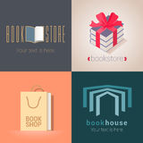 Collection of bookstore, bookshop vector emblems, logo. Template design elements with book as a bag, present for e-book store Stock Photography