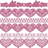 Collection of border with hearts, roses. Set of vector design elements, hearts, roses, butterfly. royalty free illustration