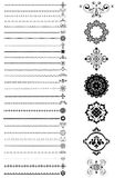 Collection  borders and ornaments on white background Stock Images
