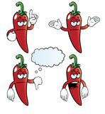 Bored chili pepper set Stock Photography
