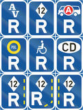Collection of Botswana Road Signs. Collection of Botswana regulatory road signs Stock Photography