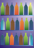 Collection Bottles. Poster, background with color full bottles created in Coreldraw10 royalty free illustration