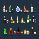Collection of bottles of alcohol in a flat style. Icons vector illustration. Royalty Free Stock Photos