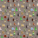 Collection of bottles of alcohol in a flat style. Icons vector illustration. Seamless pattern. Royalty Free Stock Images