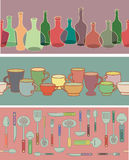 Collection of bottles, cups and kitchen utensils. Royalty Free Stock Photos