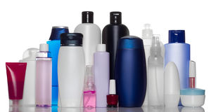 Collection of bottles of health and beauty product stock image