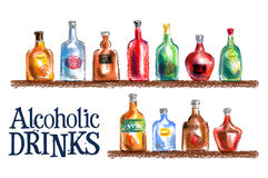 Collection of bottles vector logo design template Stock Images