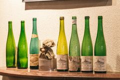 Empty bottles of wine royalty free stock photography