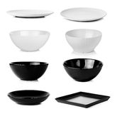 Collection of bowl plate dish isolated on a white background Stock Photography