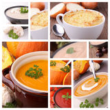 Collection of bowl of soup Royalty Free Stock Photo