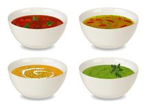 Collection of bowls with soup and cream soup. With greenery and decorations. Isolated objects on white background. Realistic style. Vector illustration royalty free illustration