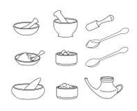 Set of outline illustration of bowls. Collection of bowls and spoons outline illustration on white background. Decoration for Ayurveda poster or background Stock Images