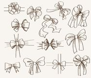 Collection of bows used for gift boxes Stock Photos